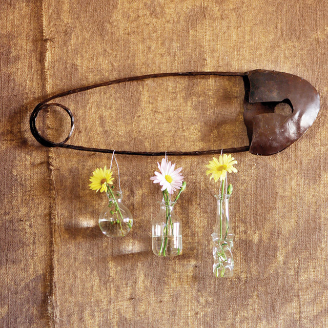 Scrap Metal Safety Pin Wall Art eclectic-home-decor