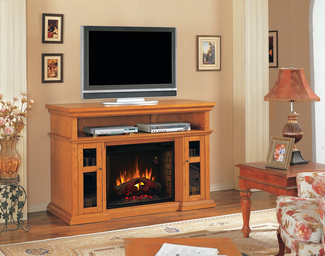 Pasadena Infrared Electric Fireplace Entertainment Center In Premium Oak Traditional Indoor