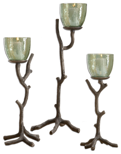 Desi Candleholders, Set of 3 traditional-candles-and-candleholders