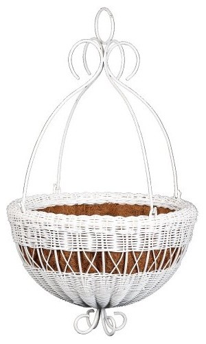 DMC Round Resin Wicker Hanging Basket with Metal Hanger White traditional-outdoor-planters