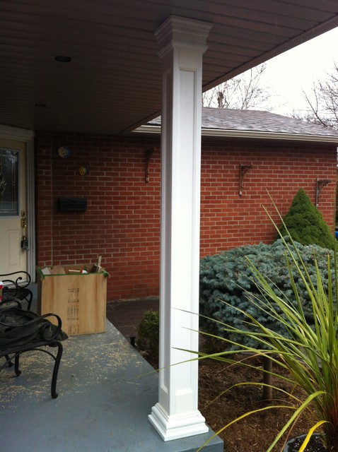 Square recessed fiberglass column porch toronto by for Decorative fiberglass columns
