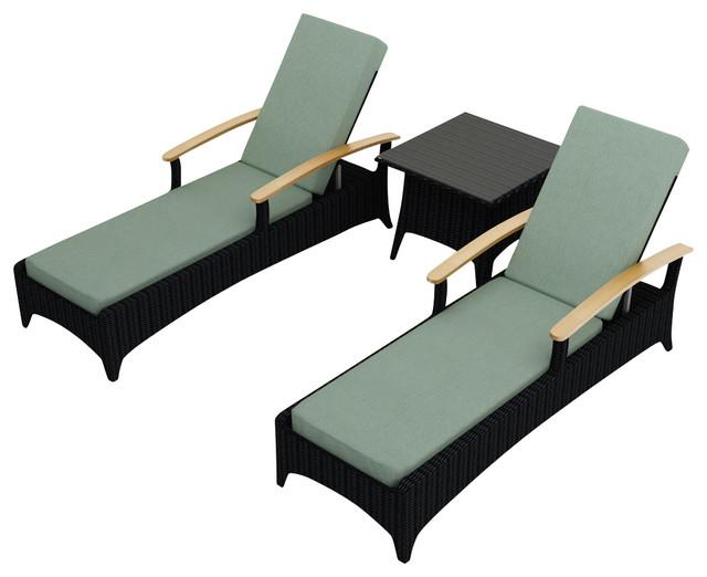 Arbor 3 Piece Modern Outdoor Reclining Chaise Lounge Set, Spa Cushions modern-outdoor-chaise-lounges