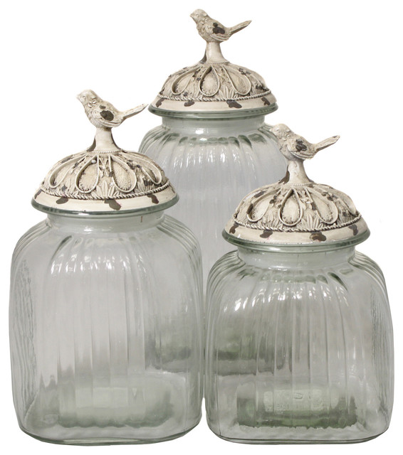 casa cortes antique white songbird 3 piece glass