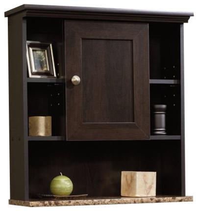 Sauder peppercorn wall cabinet in cinnamon cherry for Cinnamon cherry kitchen cabinets