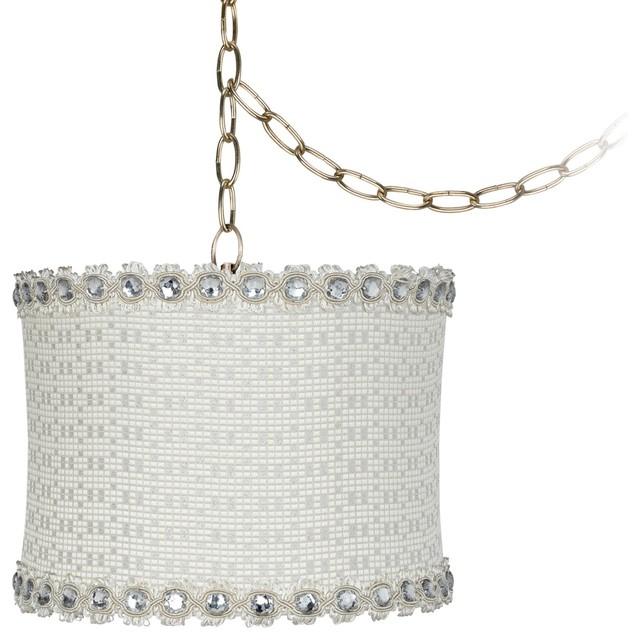 "Traditional Cream Metallic Jewel 11"" Wide Antique Brass Swag Chandelier traditional-chandeliers"