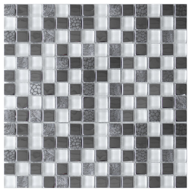 Square Mixed Steel Tile with White Glass and Textured Metal - Eclectic ...