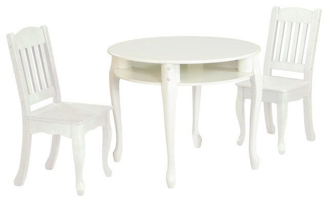 THE WINDSOR KIDS WHITE ROUND TABLE AND CHAIR SET contemporary