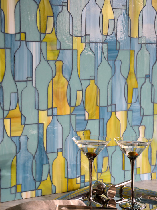 Erin Adams - Bottles - Bottles, a jewel glass mosaic in  Peridot, Serpentine, and Mica, is part of the Erin Adams Collection for New Ravenna Mosaics.