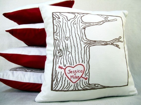 Custom Heart-Tree Print Pillow Cover By Cozyblue contemporary-decorative-pillows