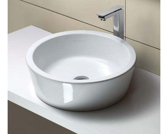 "GSI - Stylish Round White Ceramic Vessel Sink by GSI - Stylish contemporary above counter vessel sink without overflow. Circular bathroom sink has no faucet holes and is made out of high quality white ceramic. Designed and manufactured in Italy by GSI. Sink dimensions: 17.70"" (width), 5.90"" (height), 17.70"" (depth)"
