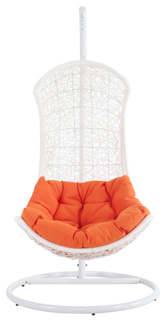 Endow Swing Outdoor Patio Lounge Chair in White Orange modern-outdoor-chaise-lounges