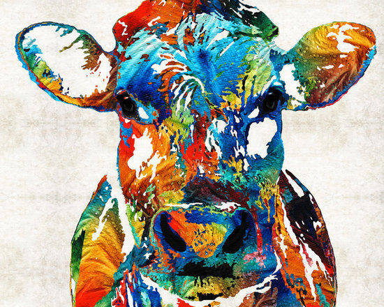 Animals, Fish and Birds - Colorful Cow Art - Mootown - By Sharon Cummings