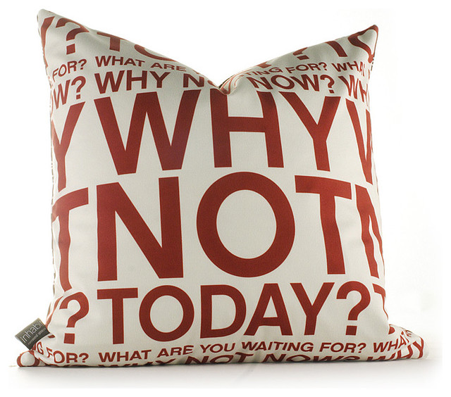 Inhabit Why Not Graphic Pillow, in Scarlet and Soy modern-decorative-pillows