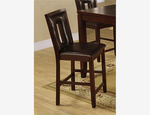 2 pc causual espresso wood counter height dining chairs for Wood dining chairs with leather seats