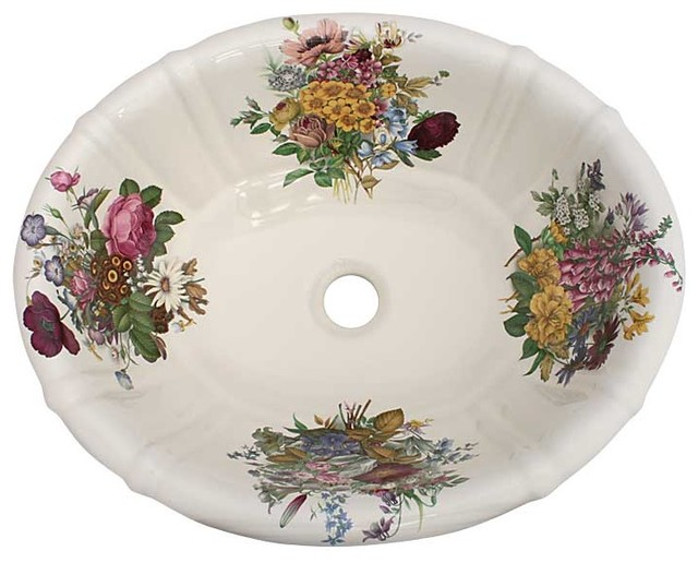 Floral Bathroom Sinks : Victorian Garden Floral Painted Sink - Traditional - Bathroom Sinks ...