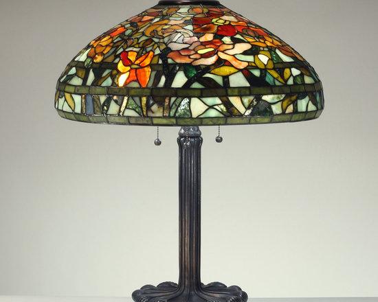 The Secret Garden (TSG 1895 USA) - 22-inch Imperial Peony Gemstone Tiffany-Style Table Lamp - Gemstone Tiffany-Style Lampshade