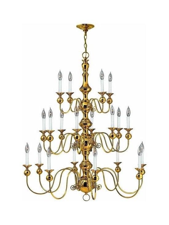 Hinkley Lighting 5127PB 3 Tier 20Lt Chandelier Virginian Collection -