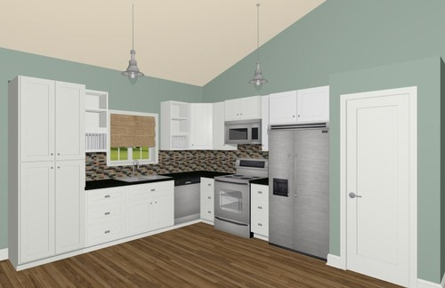 What type of island will fit into this l shaped kitchen Best white paint for kitchen cabinets behr