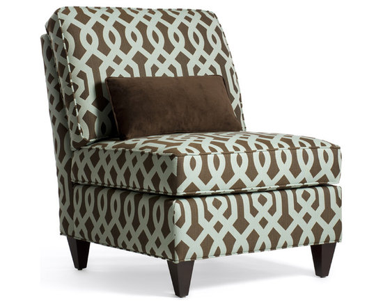 Donna Chair - A classic slipper chair, Donna features full seat and back cushions that make it a truly comfortable chair. Shown covered in a bold graphic pattern of chocolate brown and soft green, this flexible style becomes a bold accent in any space.
