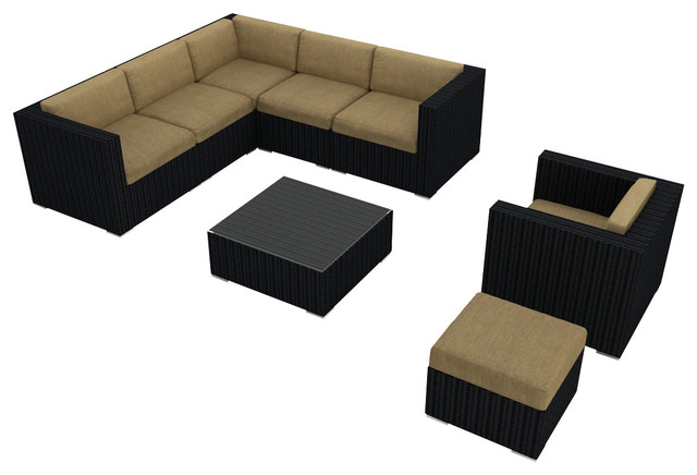 Urbana 8 Piece Modern Patio Sectional Set, Heather Beige Cushions modern-outdoor-lounge-sets