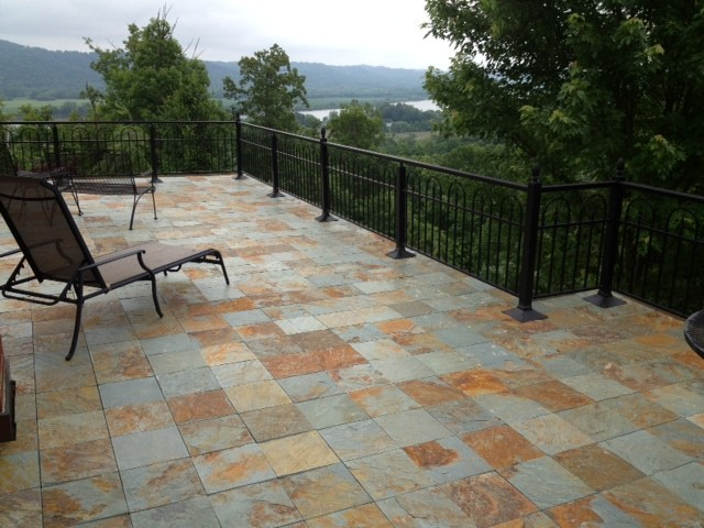 Interlocking slate deck tiles Contemporary Patio