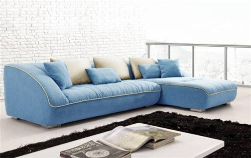 Keon Blue Fabric Sectional Comfortable Overstuffed Eclectic Sofas Chicago By