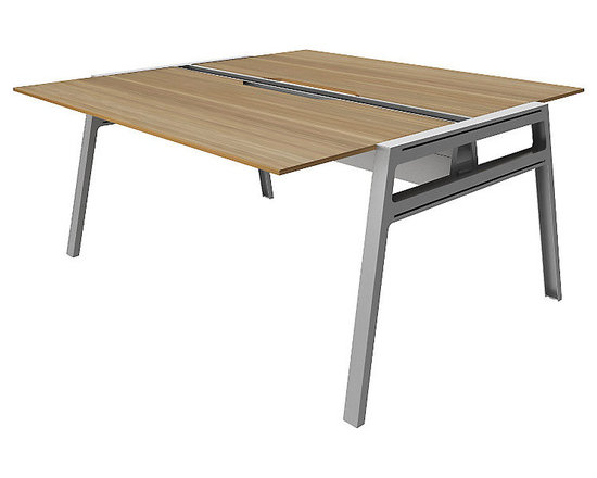 Turnstone - Bivi Table for Two with Back Pockets - The Bivi Table for Two with Back Pockets is a well-designed, modern desk that can easily be added onto with a multitude of accessories and additional desks. Part of the Bivi desking system, the Bivi Table for Two is made from MDF and powder-coated steel and features a trough for cord control and optional power supply. Back Pockets provide hidden desktop storage.