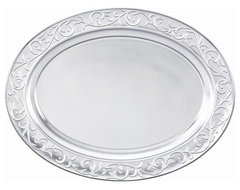 Lenox Dinnerware Opal Innocence Carved Large Metal Oval Tray traditional serveware
