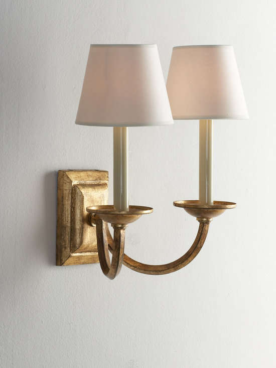 "VISUAL COMFORT Double Arm ""Flemished"" Sconce - Accentuate the ambiance of any setting with this double-arm sconce handcrafted of gilded iron. Each light is topped with a natural parchment shade."