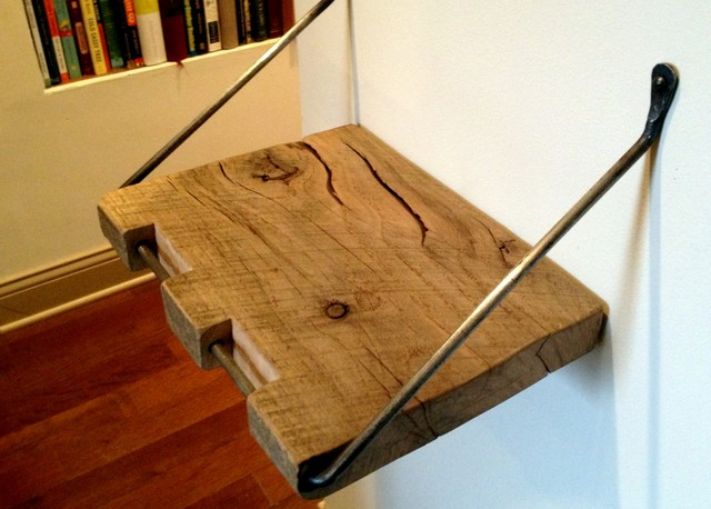 Reclaimed Wood Shelf/ Reclaimed Floating Shelf With Forged Iron Hinge And Bracke