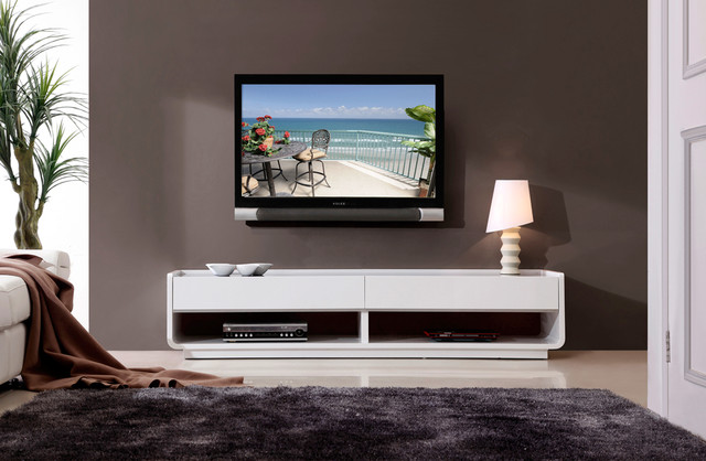 B-Modern Designer White High-Gloss TV Stand - Modern - Entertainment Centers And Tv Stands - new ...