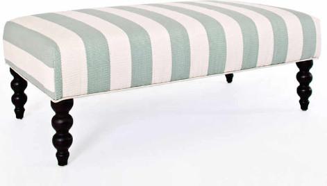 Catamaran stripe light blue turned leg rug ottoman traditional