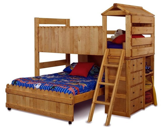 Chelsea Home - Twin Over Full Loft Bed with Ladder - NOTE: ivgStores DOES NOT offer assembly on loft beds or bunk beds.. Includes slat packs. Mattresses not included. Rustic style. Four drawers and three shelves. 4 in. lag blots are utilized to assemble parts with a recessed end for safety. Drawers have a center mounted metal Kenlin drawer glide system with fronts. Exceed the ASTM standard consumer safety specifications. Can hold up to 400 lbs. of distributed weight. Rounded edges for strong and safe youth furniture with Baltic birch plywood filler panels for a smooth feel and finish. Warranty: One year. Made from solid ponderosa pine wood. Cinnamon finish. Made in USA. Assembly required. 85 in. L x 81 in. W x 76 in. H (370 lbs.). Bunk Bed Warning. Please read before purchase.Warning: Falling hazard, bunk beds should be used by children 6 years of age and older!