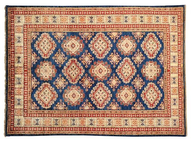 Denim Blue Oriental Rug Hand Knotted Rug Super Kazak Sh13415 traditional-area-rugs