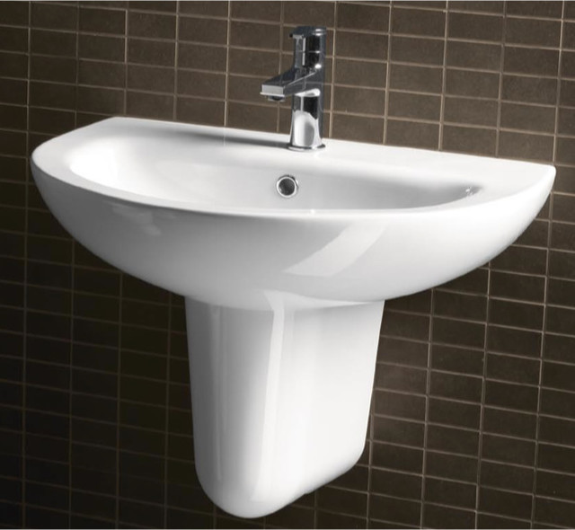 Curved Modern Wall Mounted Half Pedestal Bathroom Sink By