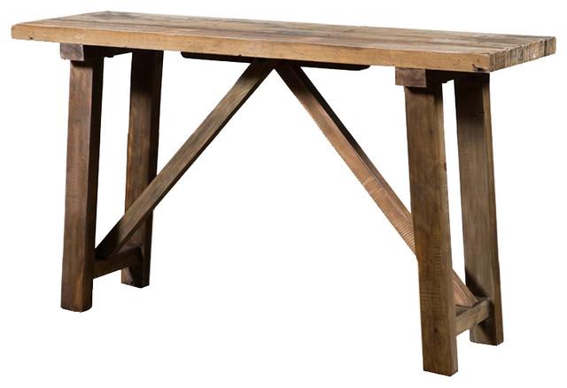 Industriel reclaimed pine console table - Table bar industriel ...