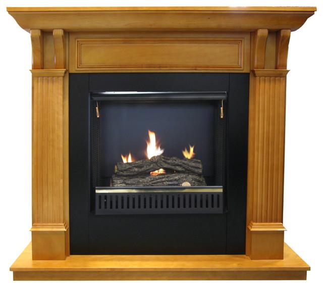 Oak Gel Fuel Fireplace Mantel & Insert Traditional