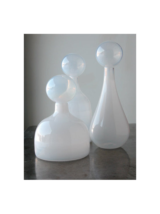 Elizabeth Lyons Glass Opaline White Trio -