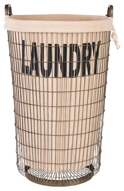 Aidan Gray Wire Laundry Basket With Linen eclectic-hampers