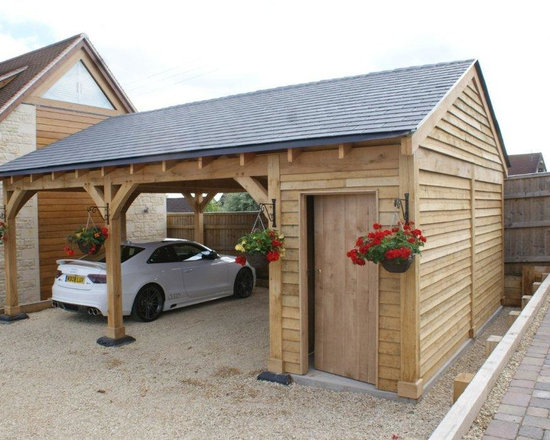 Shaftsbury - Bespoke Green Oak 2 Bay Car Port with side store, doors, roof slates. Delivered and erected includeing VAT