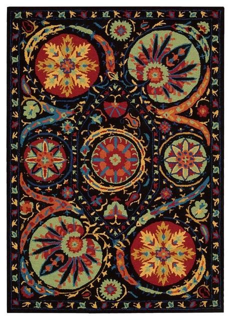 "Contemporary Suzani 3'9""x5'9"" Rectangle Black Area Rug tropical-rugs"