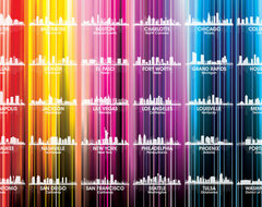 USA Skylines Vertical Lined Rainbow Print contemporary-prints-and-posters