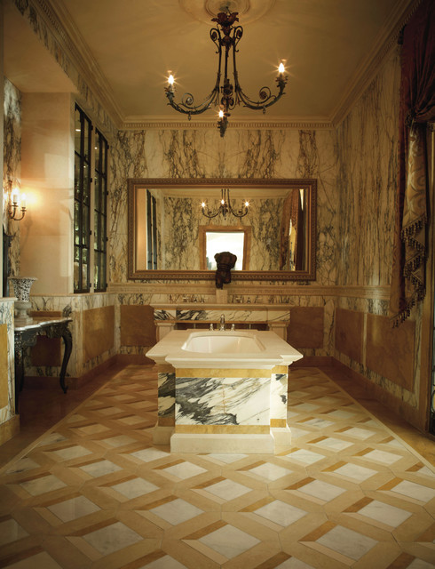 Linen window treatments - Classical Italian Paonazza Marble Bathroom Traditional Bathroom