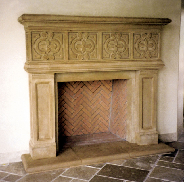manchester cast stone fireplace mantel traditional