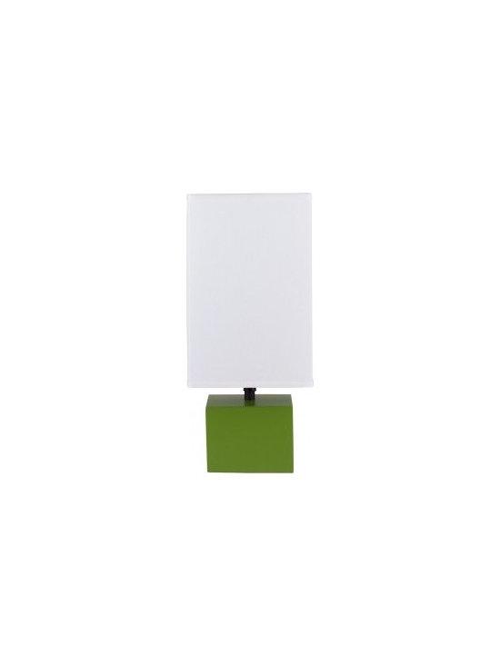 Lights Up! - Devo Table Lamp - Square Base - Base: Grass, Natural Linen Shade - - Wattage: 60
