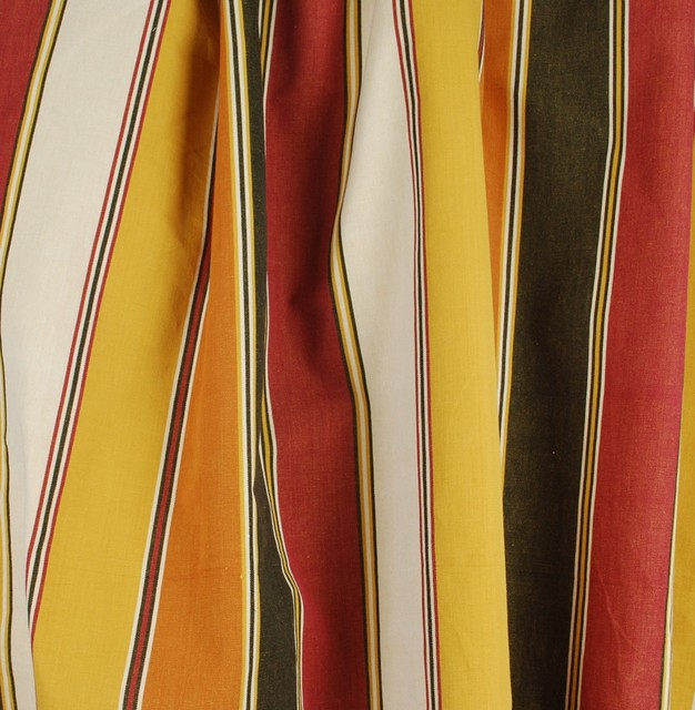 Nantucket Orange Striped Fabric Contemporary Drapery