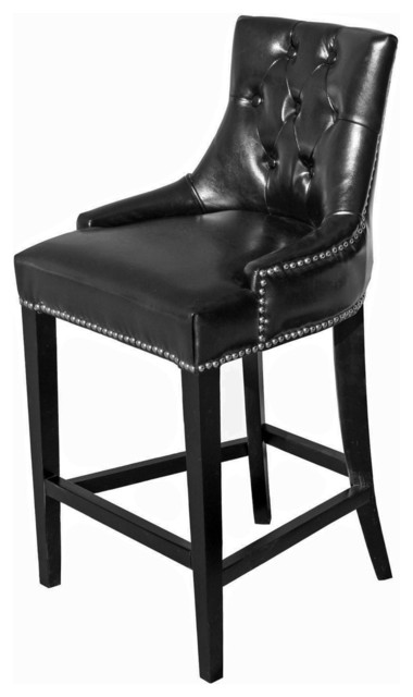 Tufted Leather Stool Black Counter Height Traditional  : traditional bar stools and counter stools from www.houzz.com size 380 x 640 jpeg 33kB