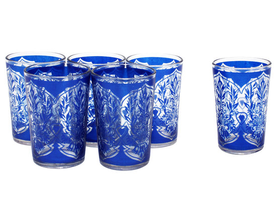 Divine Designs - Blue Moroccan Tea Glasses, Set of 6 - These stunning Moroccan tea glasses offer a new and unique experience to dining and entertaining. The vibrant color and distinguishing design is stylish and designed to impress.