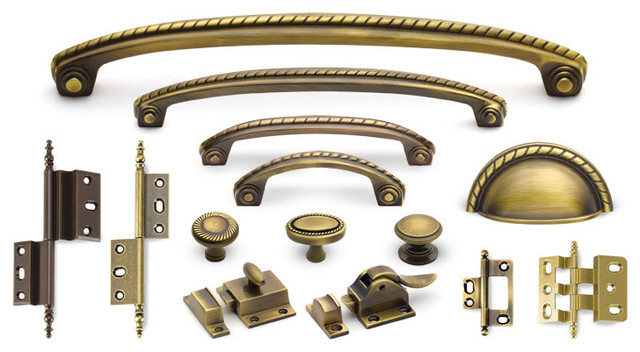 Rope Suite cabinet hardware collection in Antique Brass traditional-home-improvement