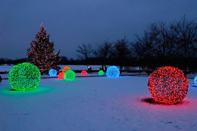 Led light balls at the chicago botanical gardens